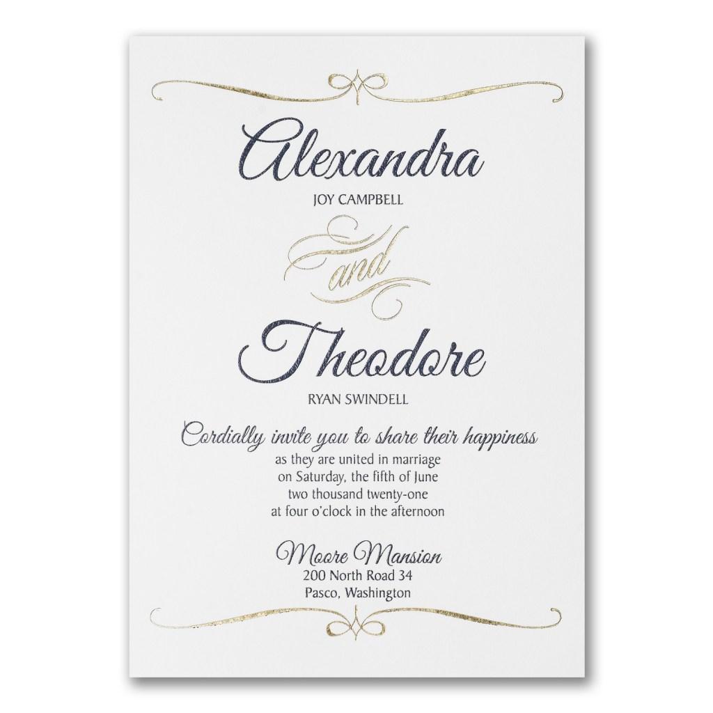 foil swirl wedding invitation