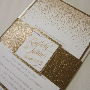 gold glitter wedding invitation confetti
