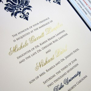 gold foil letterpress indian wedding