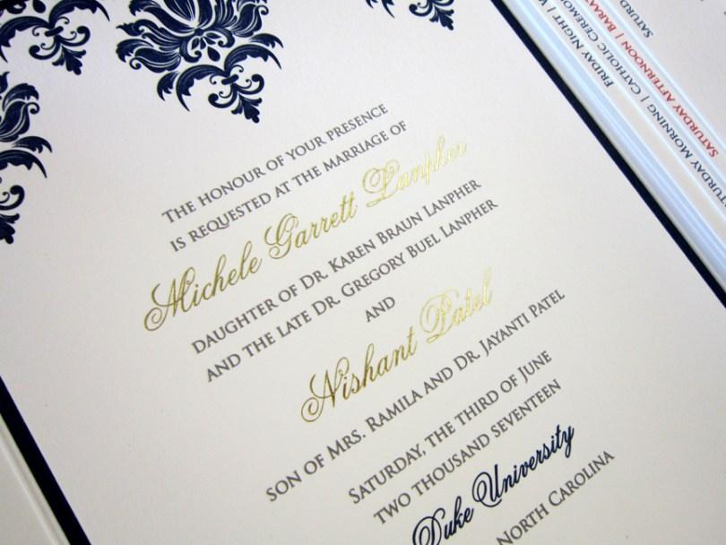 gold foil letterpress indian wedding