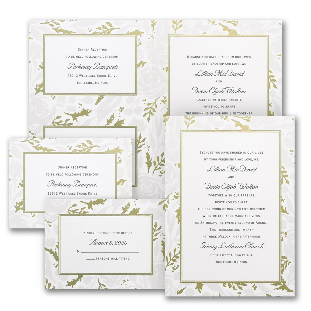 pearl rose wedding invitation budget friendly