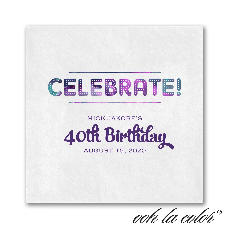 shades of celebrate birthday napkin