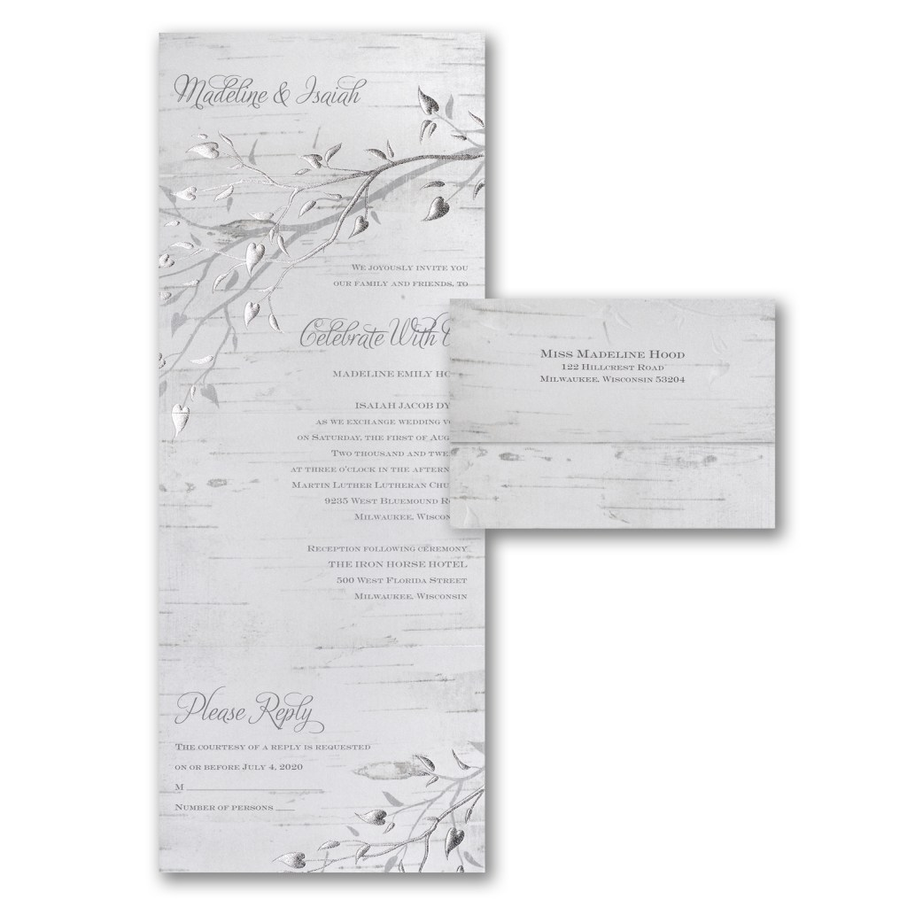 silver leaf invitation