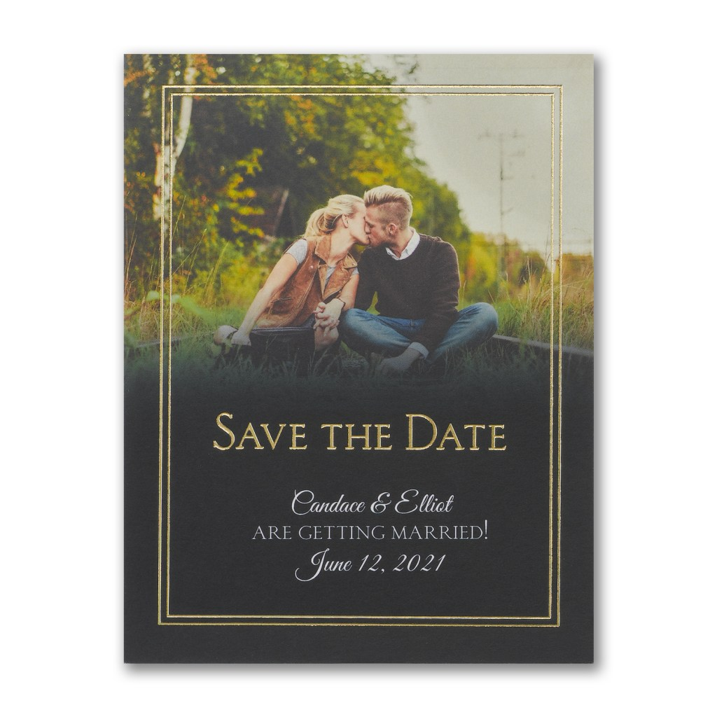 gold border photo save the date