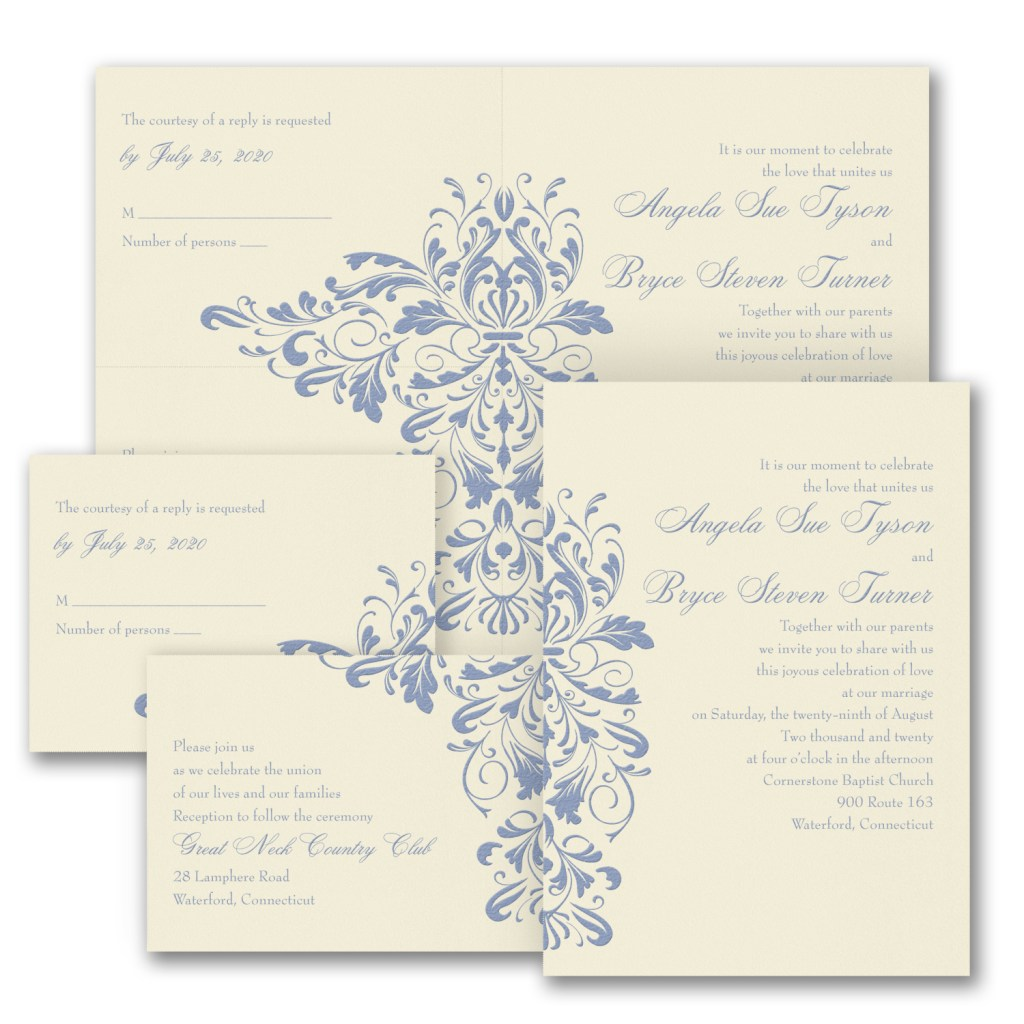 damask wedding invitation budget friendly