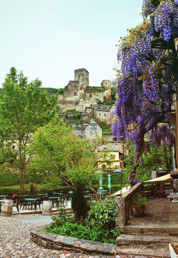 French town, Belcastel, castle is at the top of the hill