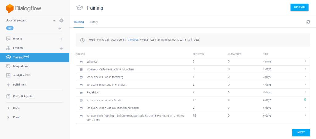 Training des JobStairs-Sprachassistenten auf Basis des Google-Bots.