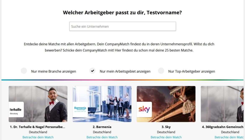 CompanyMatch Screenshot Ergebnisanzeige