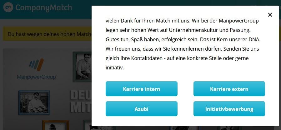 CompanyMatch Screenshot Manpower-Werbung