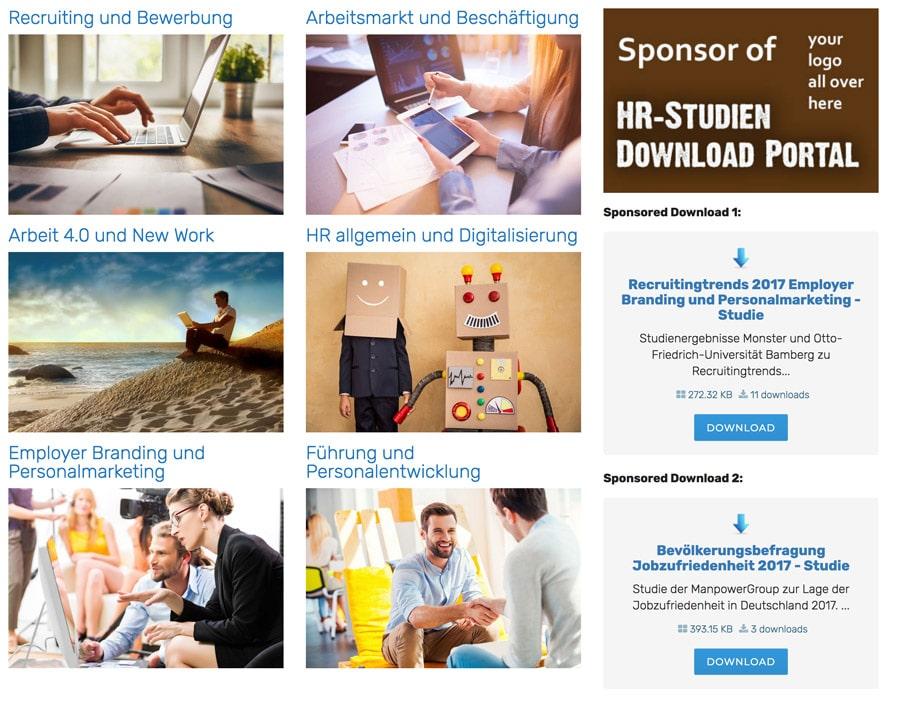 Screenshot Sponsored Downloads Portal-Eingangsseite