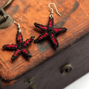 Red Fair Trade Flower Earrings from Nicaragua