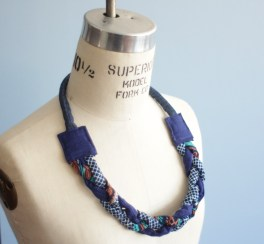 Braided blue African Necklace