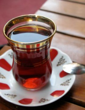 Turkish tea hospitality from refugees