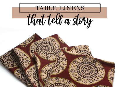block print table linens made in Charlotte