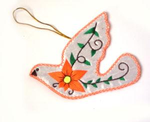 Orange Christmas Dove Ornament