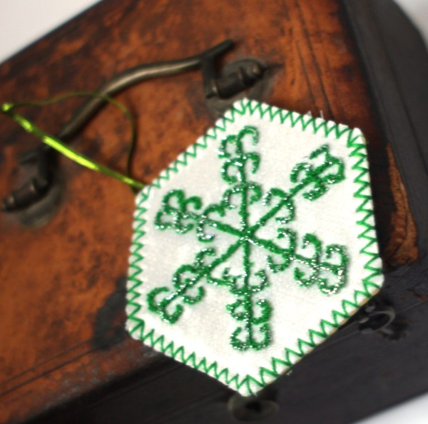 Embroidered Green Snowflake Decoration
