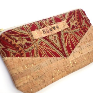 Red Tapestry Gold Cork Clutch
