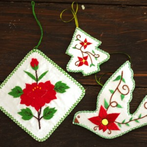 Embroidered Red Ornament Collection