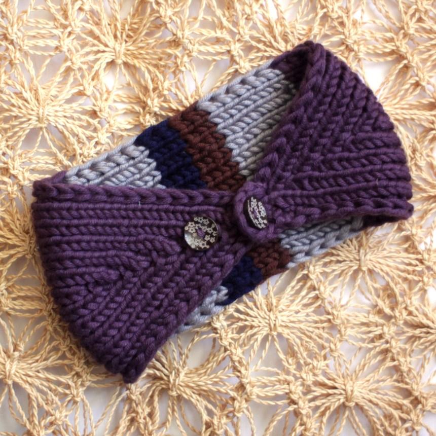Knit Purple Striped Chunky Ear Warmer
