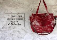 Red Silver Vintage Look Carpet Bag