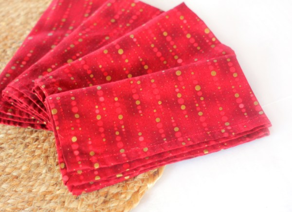 Red Gold Cotton Napkins