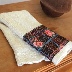 Brown Floral Country Chic Open Weave Towels