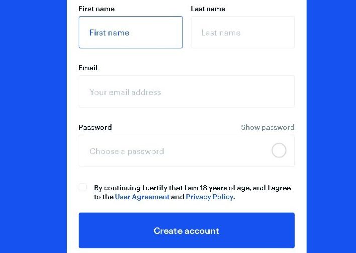 Creating an account on Coinbase requires some information