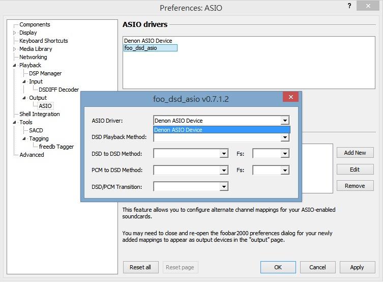 double click「foo_dsd_asio」,在「ASIO Driver」內選取相關DAC的ASIO程式,部分DAC需要在「DSD Playback Method」選取「DoP Maker」或者「ASIO Native」,Denon DA-10的話,這個位置留白亦可以順利播放DSD。