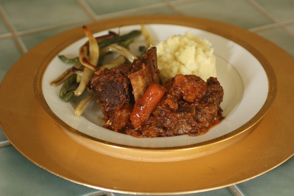 Harvest Comfort Short Ribs with Boursin Mashed Potato, and Roasted Green & Wax Beans