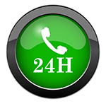 blog picture of a green button with a phone receiver icon and 24h underneath