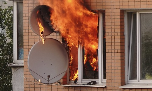 satellite dishes on fire