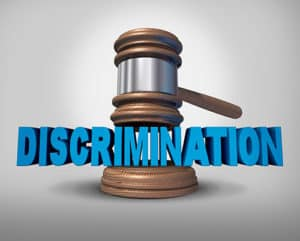Gavel and the word discrimination.