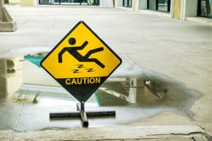 Caution, wet floor sign.