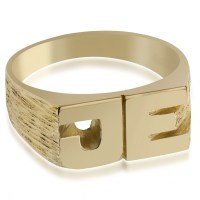 Mens Initials Ring, 9ct Yellow Gold, Hallmarked ...