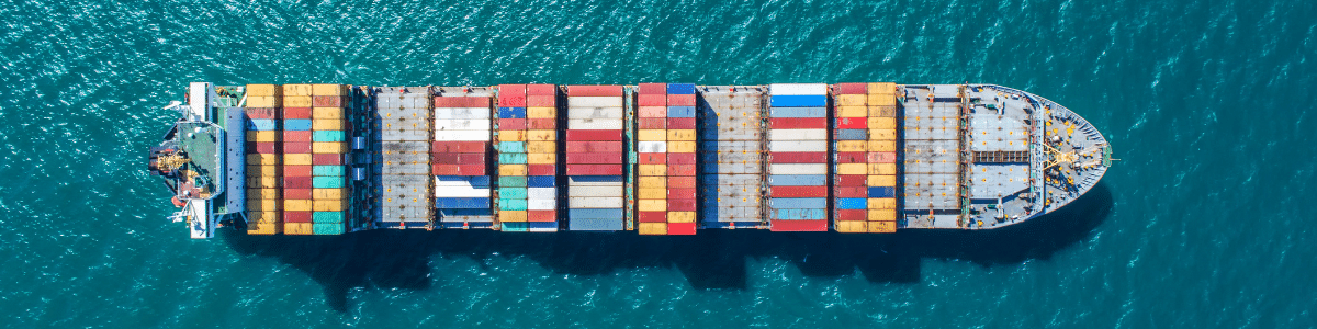 aerial view of container ship for sea freight