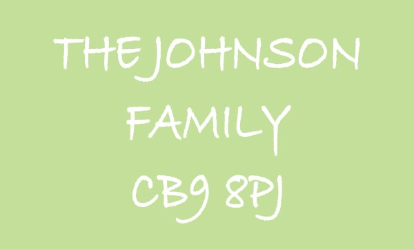 Pale Green The ... Family & Postcode Personalised Doormat