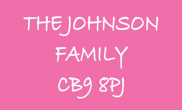 Pink The ... Family & Postcode Personalised Doormat