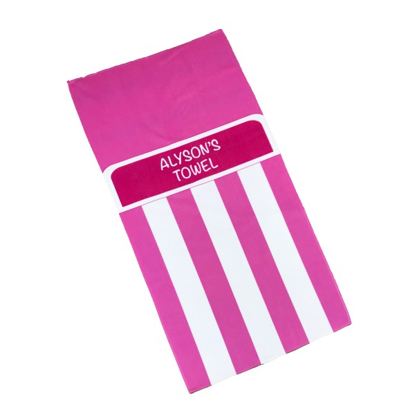 personalised bright pink beach towel with stripes and name