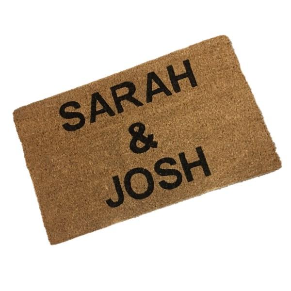 printed coir doormat with people's names. Coir doormat printed with two first names