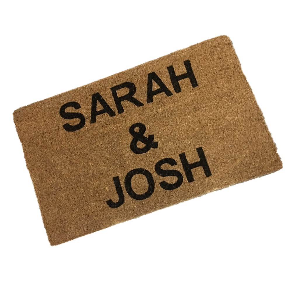printed coir doormat with people's names. Coir doormat printed with two first names