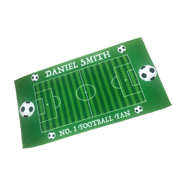 personalised kids beach towel with name and football theme