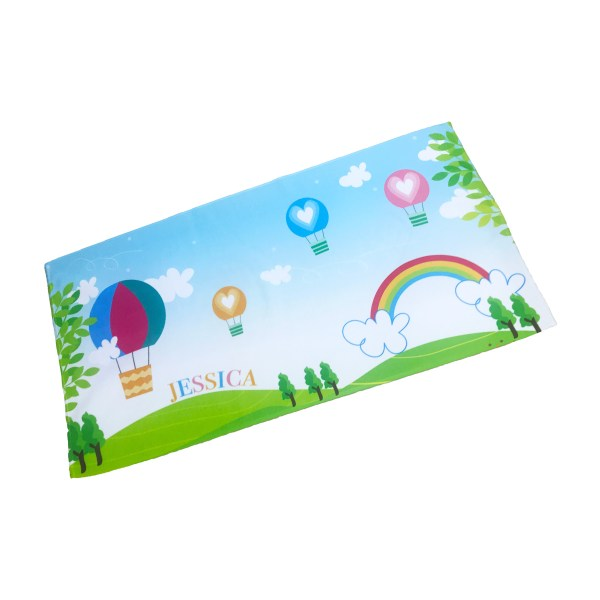 personalised kids beach towel with name and rainbow theme