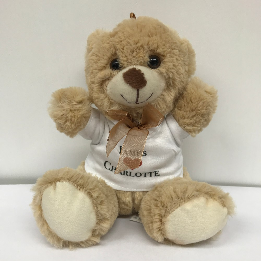 personalised brown teddy bear with bow and printed t-shirt