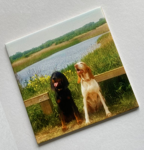 personalised ceramic tile with photo of young girl blowing bubbles