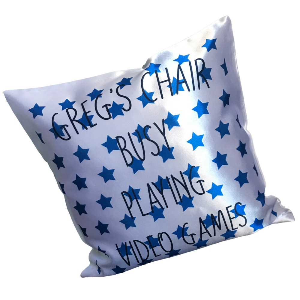 personalised name cushion with blue stars