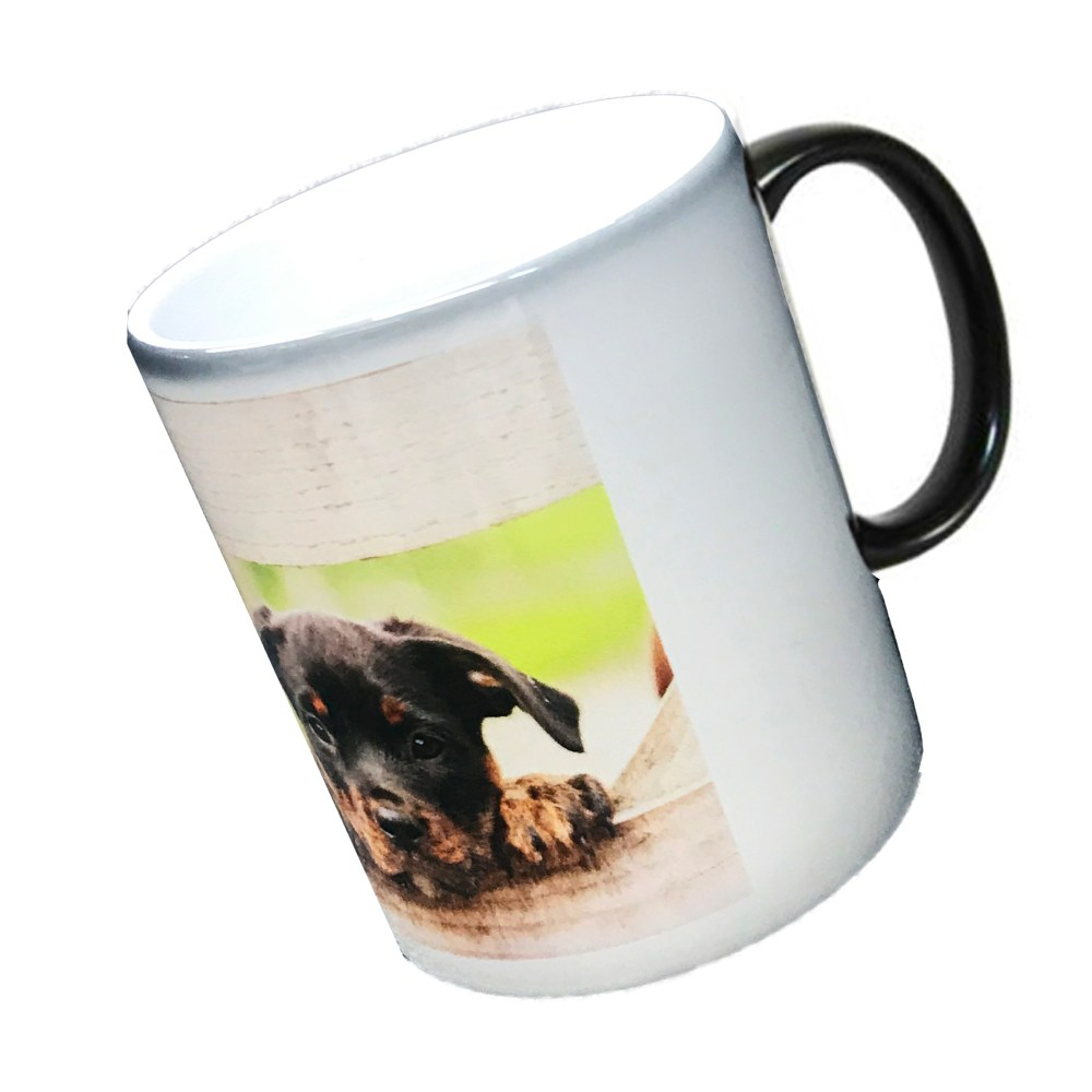 personalised black colour change mug printed with a photo of a dog