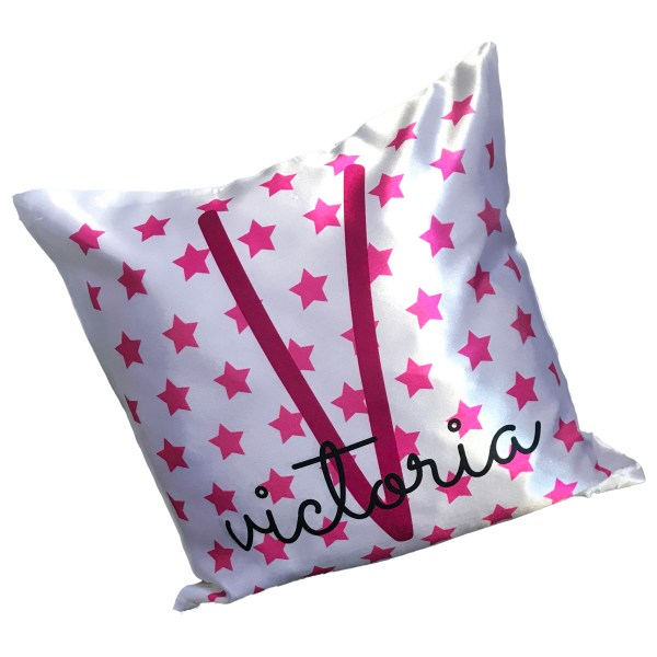 personalised name and initial cushion in pink with star background