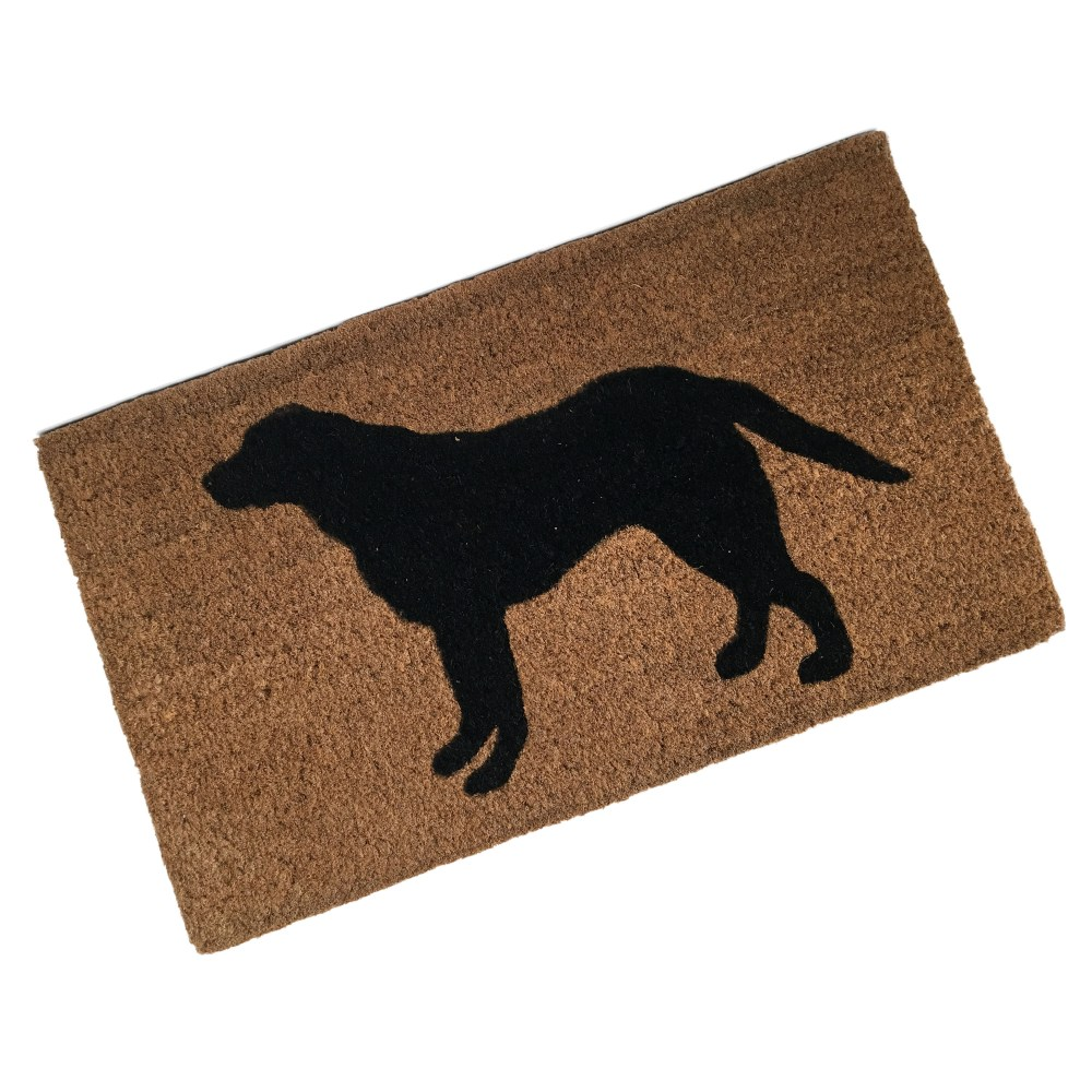 coir doormat printed with labrador dog picture