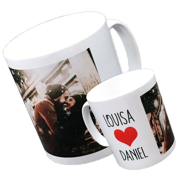 personalised standard white mug printed with couple photo and names with red love heart