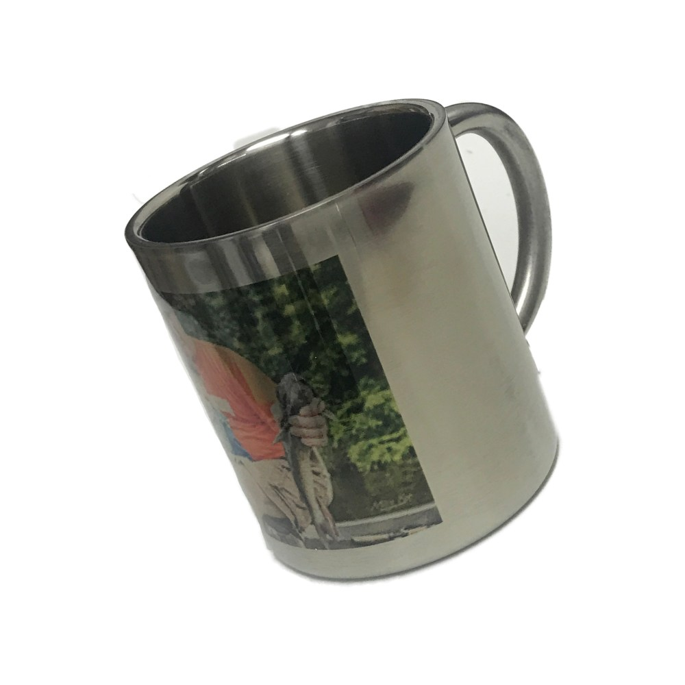 personalised stainless steel outdoor mug printed with a photo of a father and son fishing.
